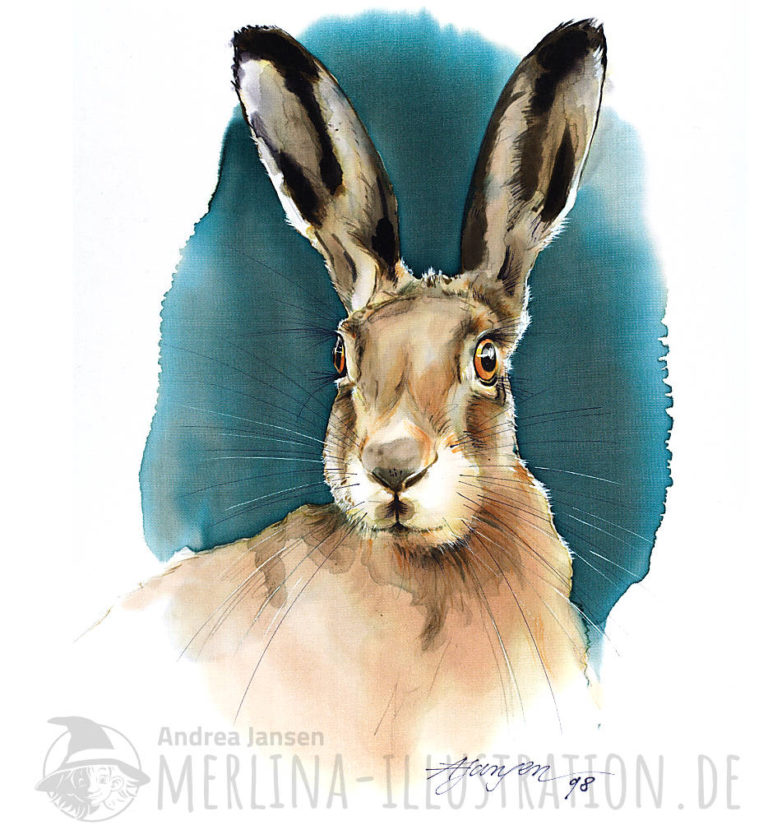 Seidenbild Osterhase -Porträt im Ei-Format