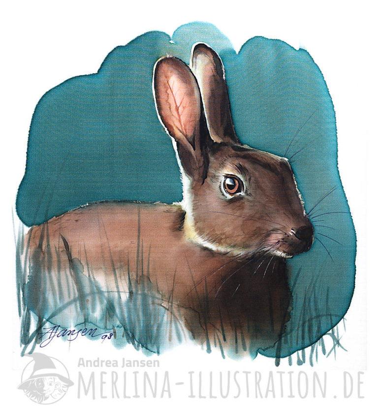 Seidenbild Kaninchen im Gras