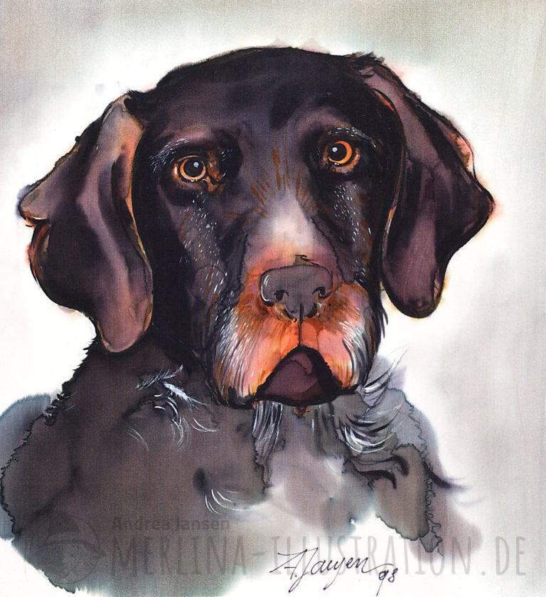 Jagdhund Porträt auf Seide gemalt