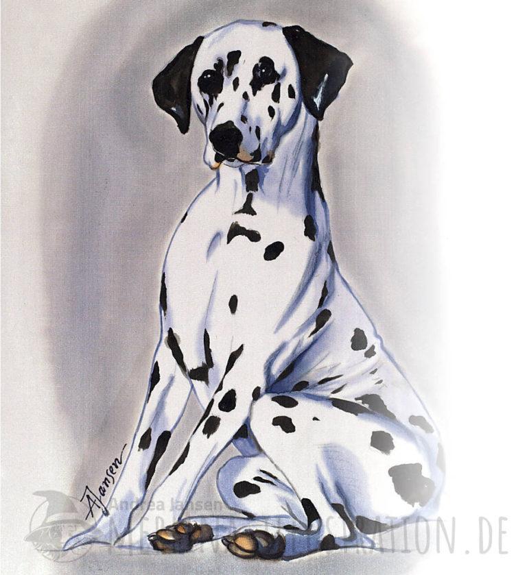 sitzender Dalmatiner Hund auf Seide gemalt