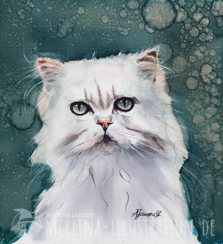 Chinchilla Katze auf Seide gemalt