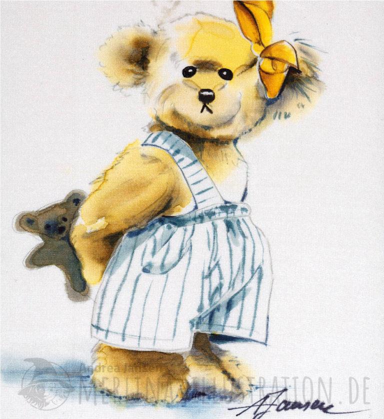 Teddybär mit Schleife in Hosen auf Seide gemalt