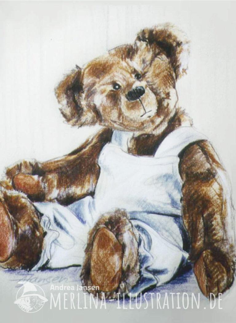 Mit Farbstiften gezeichneter sitzender Teddybär in weißer Latzhose.