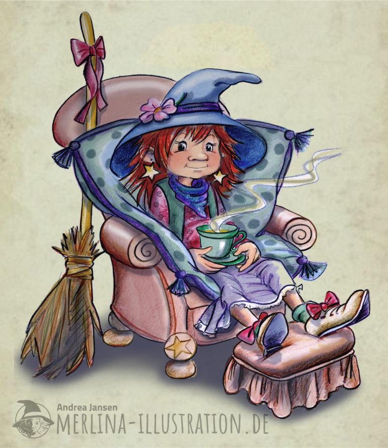Eine kleine Hexe sitzt im Sessel und hat eine Tasse Tee auf dem Schoß.t