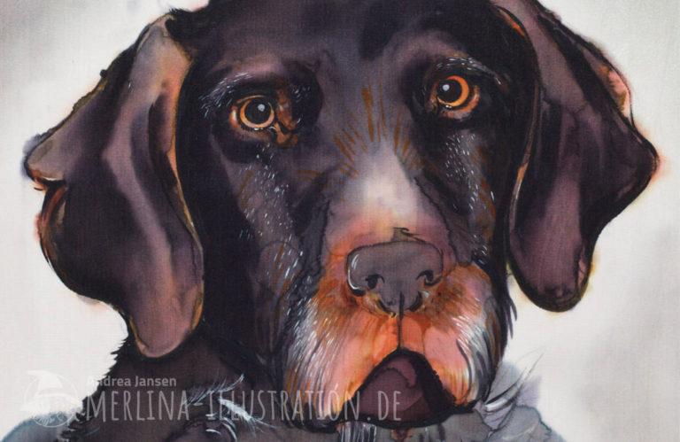 Porträt eines Jagdhundes auf Seide