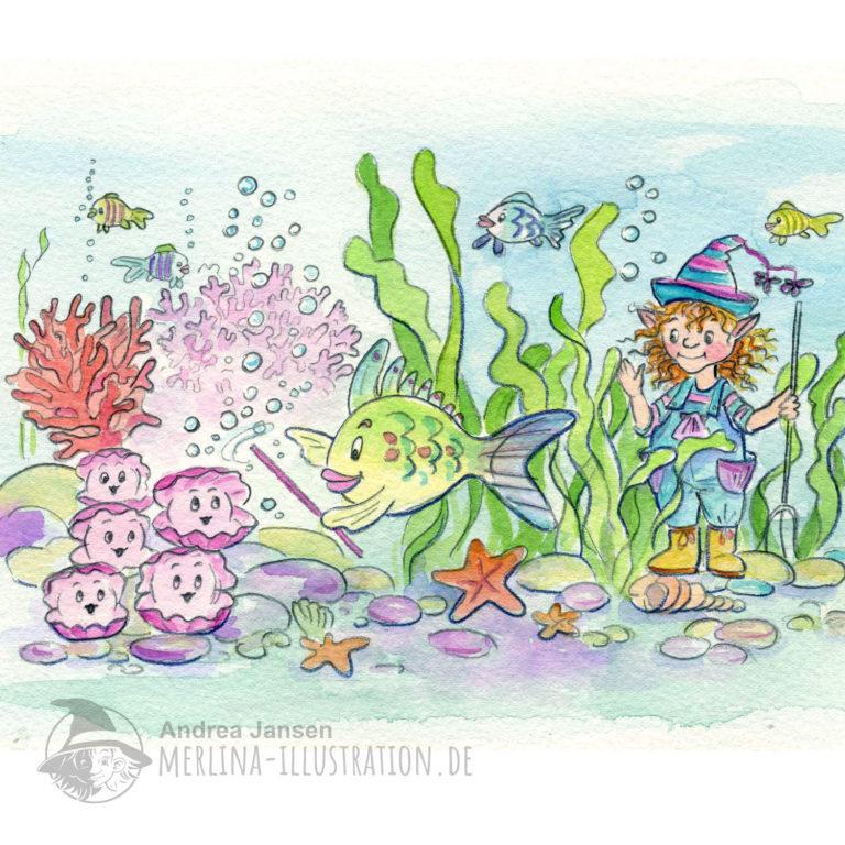 Kleiner Wassermann sieht zu, wie ein Fisch eine Muscheln dirigiert. ppe Msosadie ei