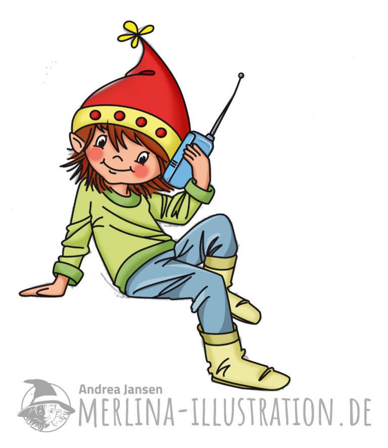 Kleiner Wichtl mit roter Zipfelmütze sitzt auf etwas und telefoniert mit einem blauen Handy.
