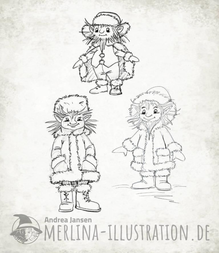 Wintergeister, S/W Skizzen frostige Gesellen in fellbesetzten Wintermänteln.