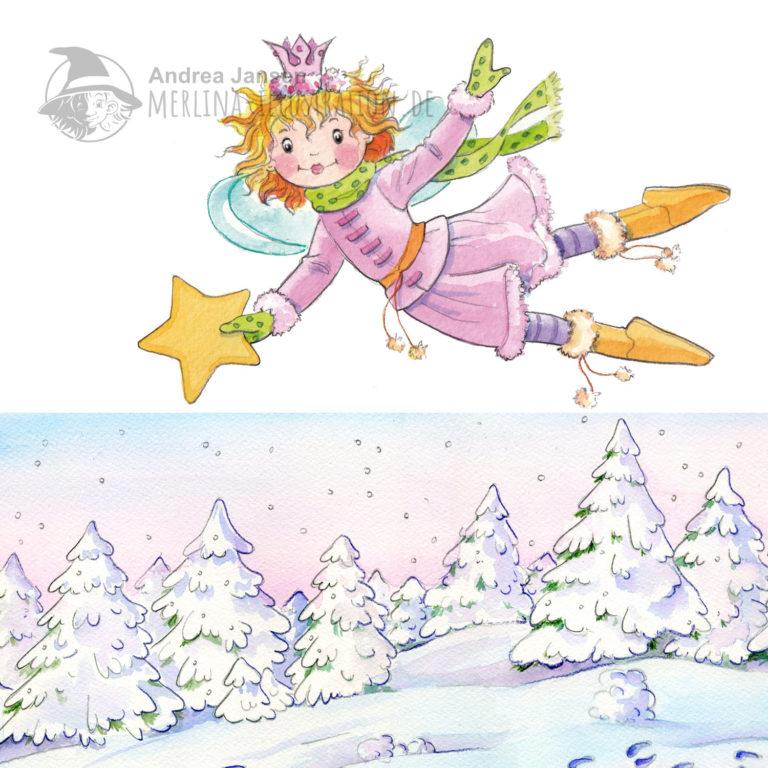 Prinzessin Lillifee fliegt mit einem Stern über eine schneebedeckte Waldlandschaft.eeine Schneerl