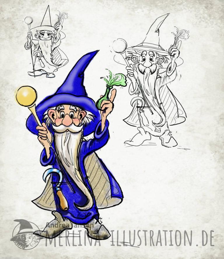 farbige und S/W Studien vom Zauberer Merlin mit blauem Mantel, langem Bart, Goldkugel und grünem Elixier