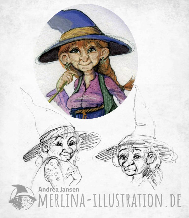 Farbige Aquarellskizze eines lustigen Hexenportraits und zwei dazugehörige Strichzeichnungen