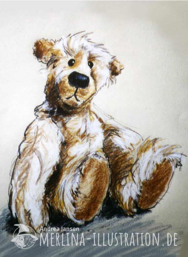 Zotteliger sitzender Teddybär