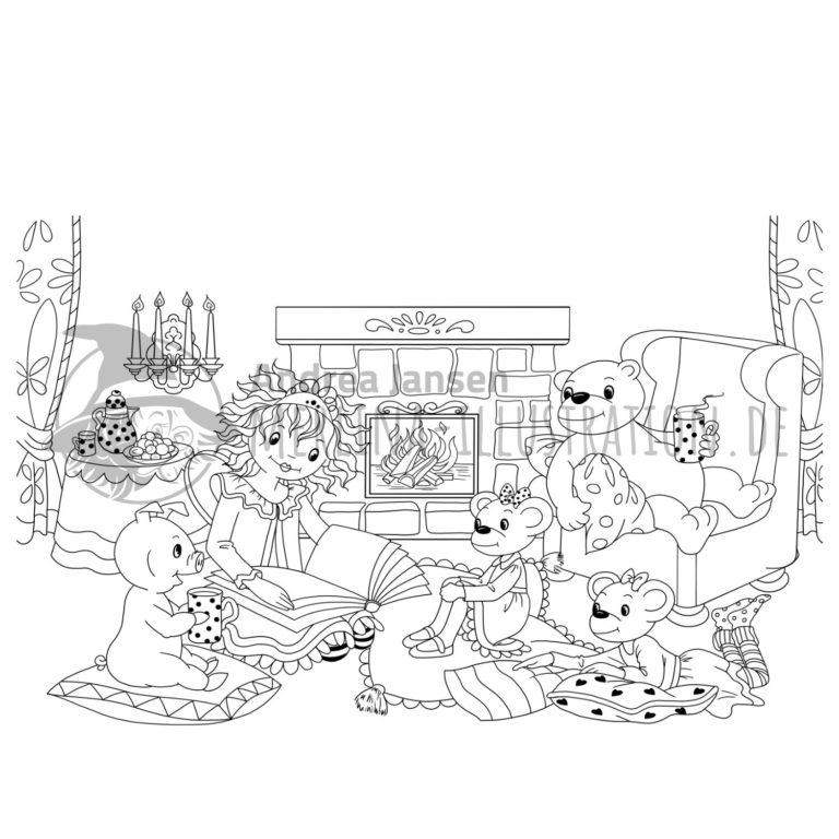 Prinzessin Lillifee sitzt mit den Mäusen, Pupsi und Bruno vorm Kamin und schaut in ein großes Buch auf ihrem Schoß.