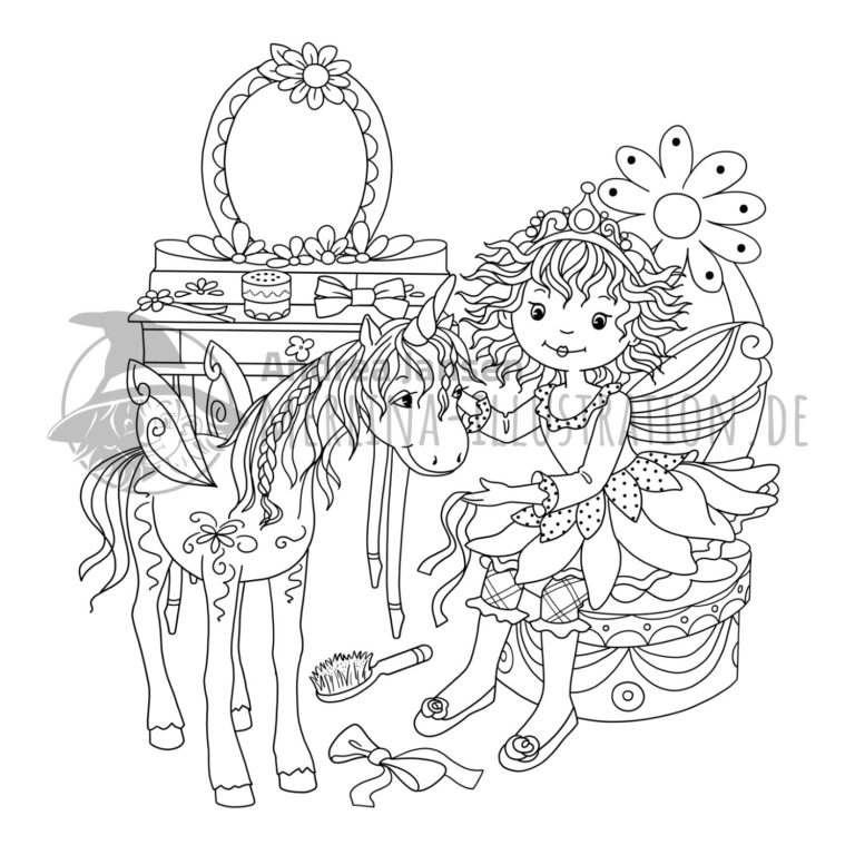 Prinzessin Lillifee sitzt mit Einhorn vor dem Schminktisch.