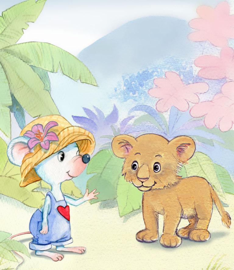 Bilderbuchseite-weiße Maus mit blauer Latzhose und Stohhut trifft im Urwald ein Löwenbaby.
