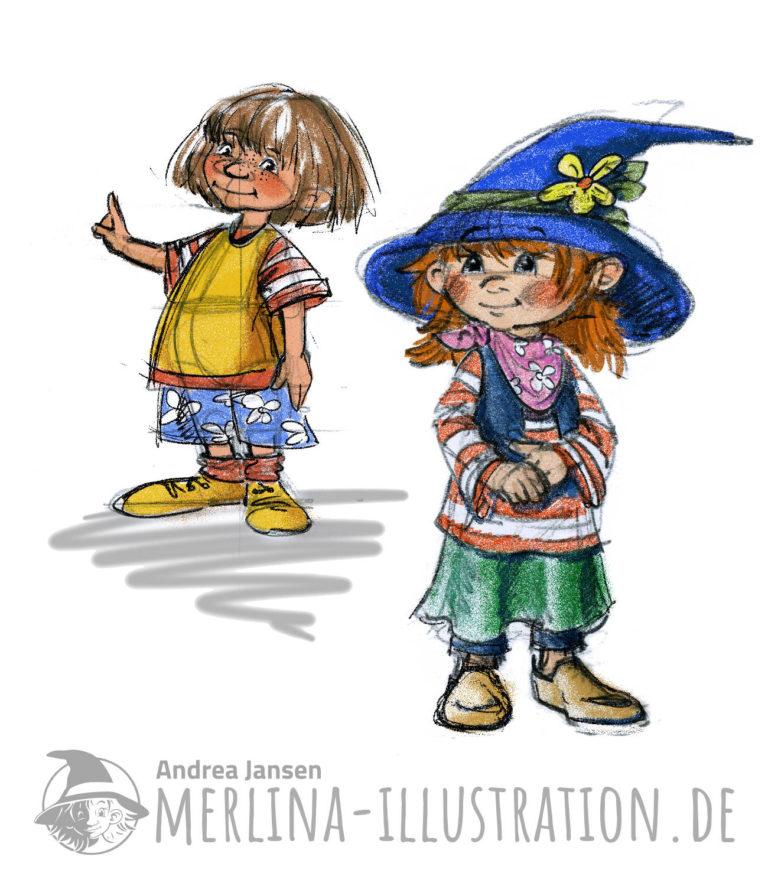 lockere Farb-Entwürfe zweier Kinder - Charakter Figuren