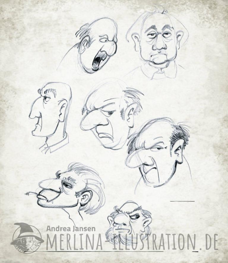 Charakter Köpfe miese Kerle Bleistift-Studien
