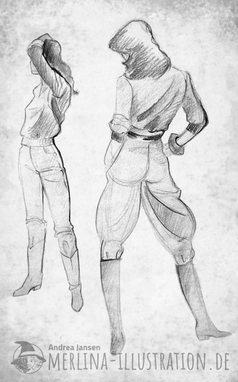 Modeskizze Rücken-und Vorderansicht-modisch in Stiefeln