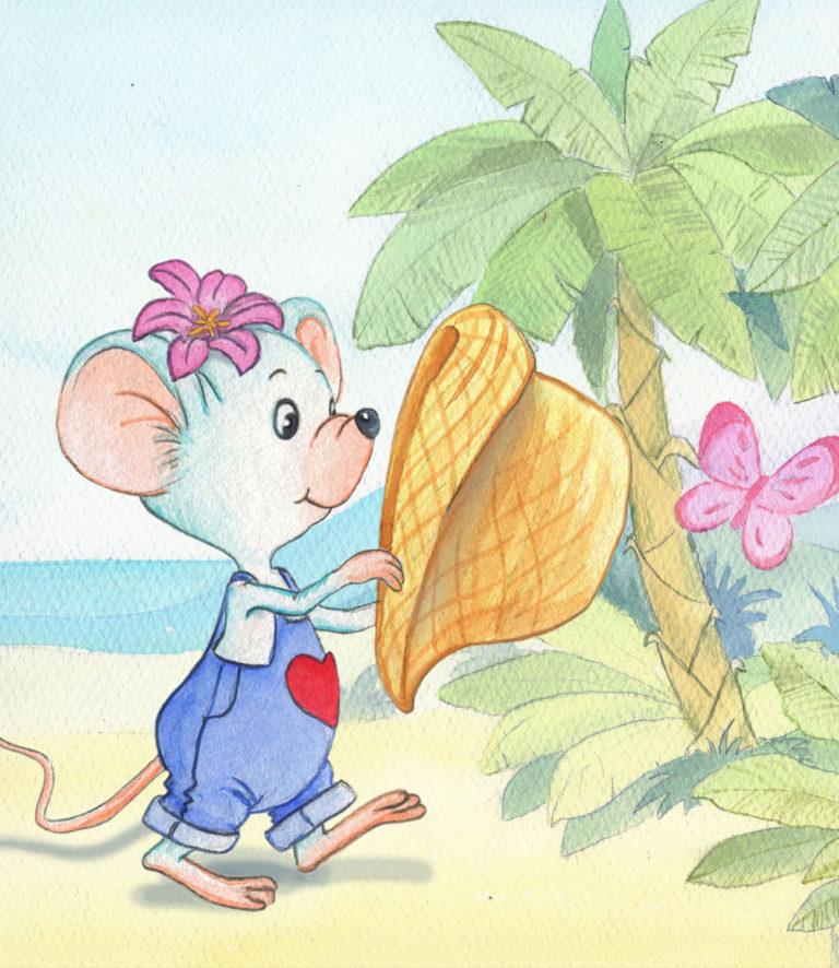 Weiße Maus in Latzhosen läuft vom Strand in den Urwald und hält einen Strohhut in den Händen.