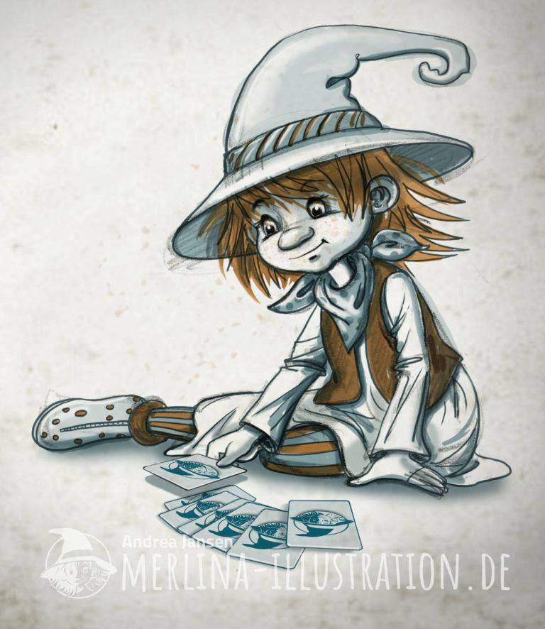 Kleine Hexe Merlina sitzt auf dem Boden und legt vor sich Karten aus.t