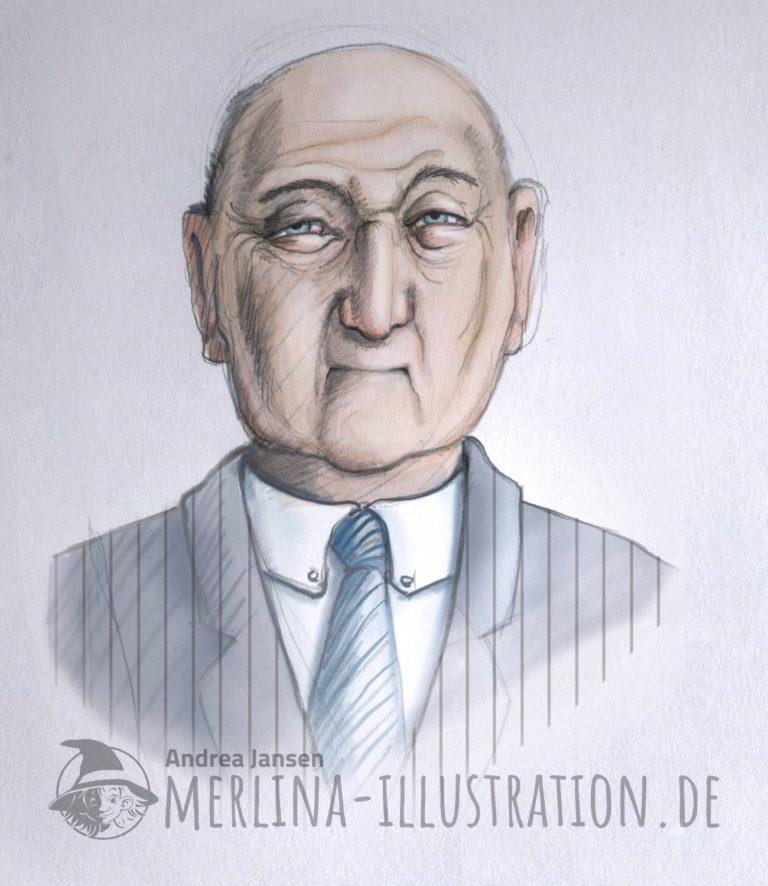 Porträt vom miesen Typ im Nadelstreifenanzug
