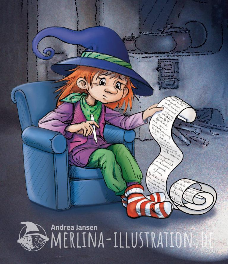 Kleine Hexe Merlina sitzt in ihrer Küche im Sessel und hat eine zu lange Liste Gute Vorsätze aufgeschrieben.