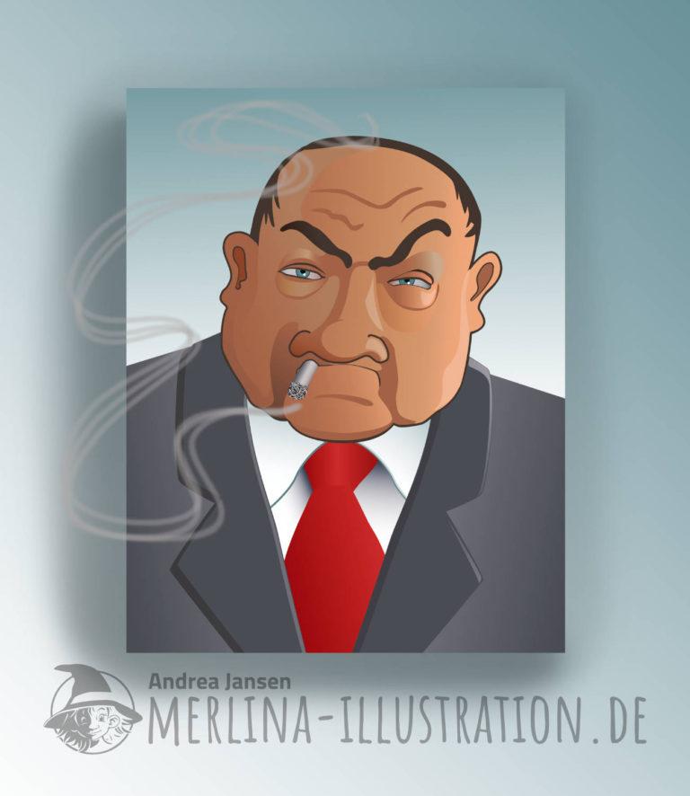 Porträt vom Gangsterboss mit seiner Zigarette im Mundwinkelnkel.