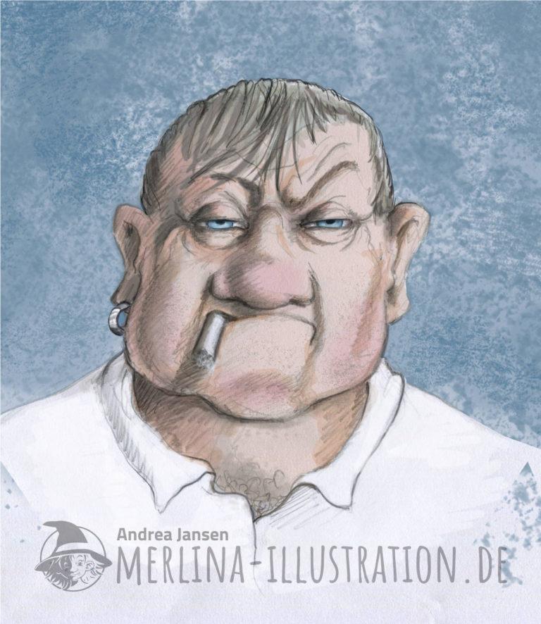 Porträt eines wenig vertrauenswürdigen Mannes mit Kippe im Mundwinkel und Ohrring.