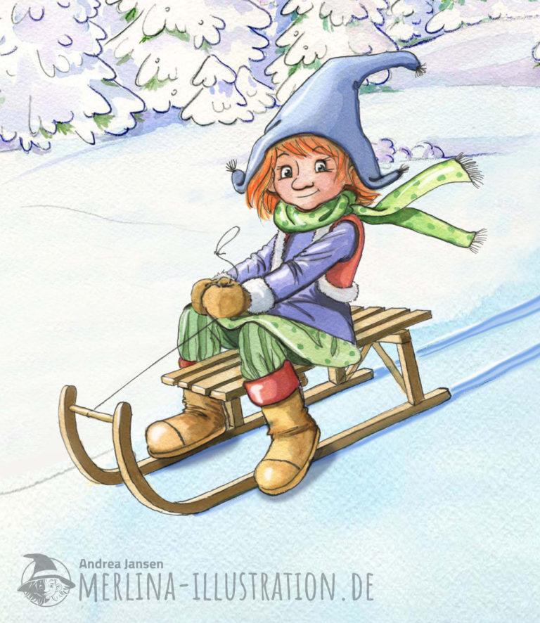 Merlina fährt auf einem Holzschlitten den weißen Hang hinunter.