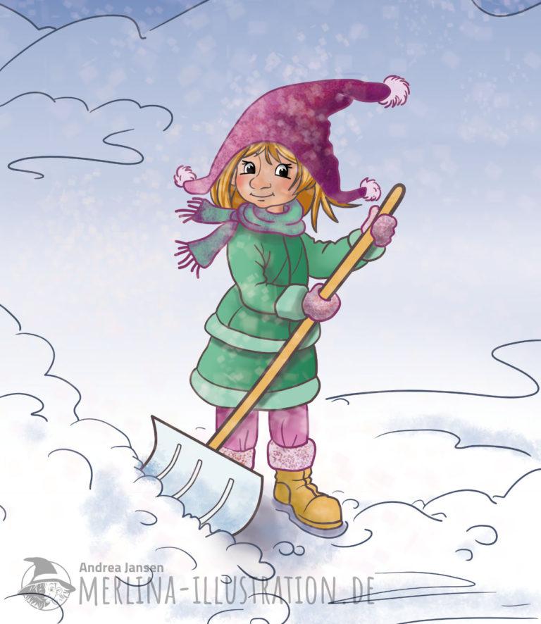 Merlina steht mit einer Schneeschaufel im Schnee.
