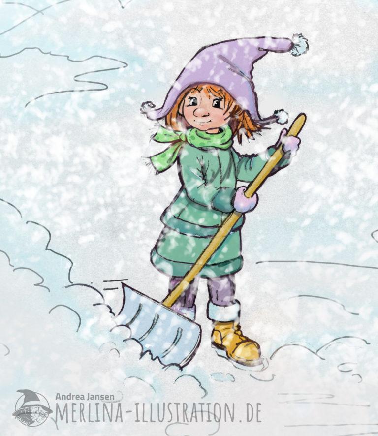 Merlina steht im Schneegestöber mit der Schneeschaufel
