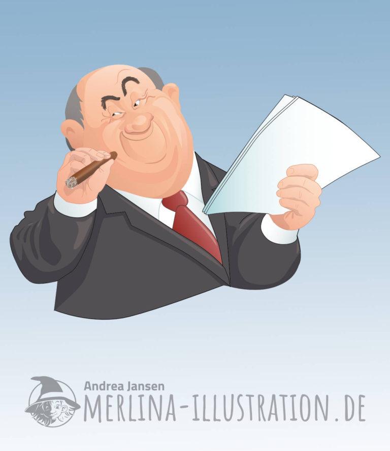 Ein Herr im Anzug mit verschlagenem Lächeln hält in der einen Hand seine Zigarre, in der anderen Hand die unterschriebenen Papiere.