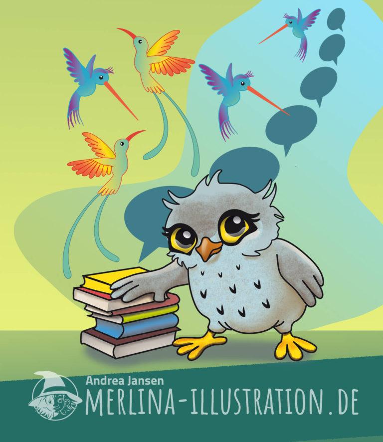 Kleine Eule legt ihren Flügel auf einen Stapel mit Büchern. Im Hintergrund Sprechblasen und Fantasievögel.