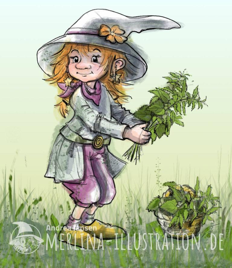 Illustration einer kleinen Kräuterhexe, die einen Strauß Brennesseln in den Händen hält.Wil